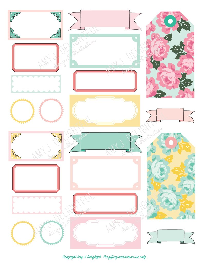 graphic relating to Printable Vintage Labels known as Printable Typical Labels and Tags stickers! -Electronic Report Quick Down load- floral, pastels, dime shop, bando, content planner, hand drawn