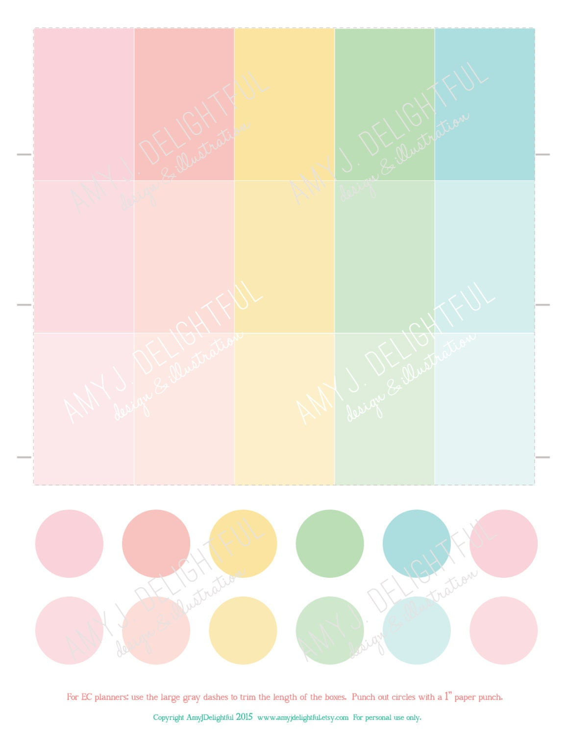 Printable Solid Ombre PLANNER Stickers Pink Turquoise
