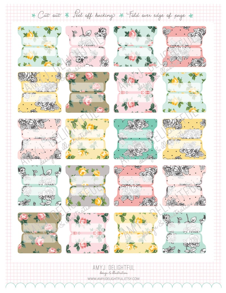 graphic relating to Printable Tabs known as Low Dimension Printable Floral Blank Planner Record TABS - Electronic Record Fast Down load- floral, roses, black and white, Household Command