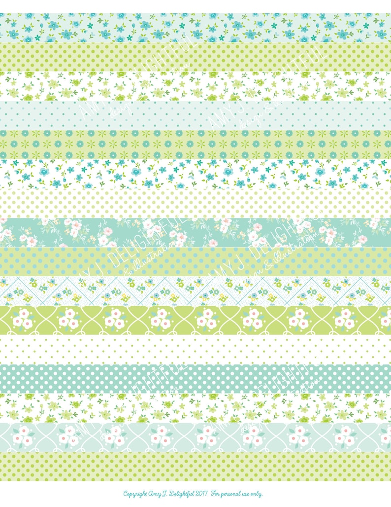 picture regarding Printable Washi Tape called Printable WASHI TAPE stickers!-Electronic Report Immediate Obtain-turquoise, eco-friendly, mint, polka dots, florals, bible journaling, Delighted Planner