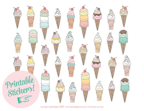 image regarding Printable Ice Cream Cones known as Printable Ice Product Cone STICKERS - Electronic History Prompt Down load- planner stickers, celebration choose, Delighted Planner stickers, Erin Condren