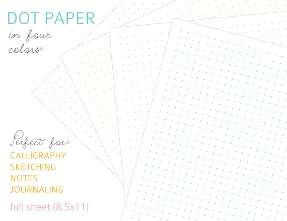 picture about Printable Dot Paper called Printable DOT PAPER - Electronic Document Immediate Down load - PDF turquoise, orange, red, environmentally friendly, multi-coloured, calligraphy, journaling