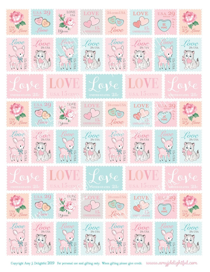 photo about Printable Postage Stamps called Printable Enjoy Postage Stamp layout stickers!-Electronic Document Fast Obtain- Valentines Working day, delighted ship, creating, embellishment, hand drawn