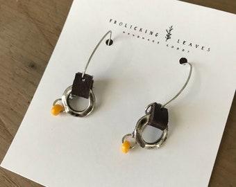 Repurposed Brown Leather Silver Hoop Earrings Yellow Beads