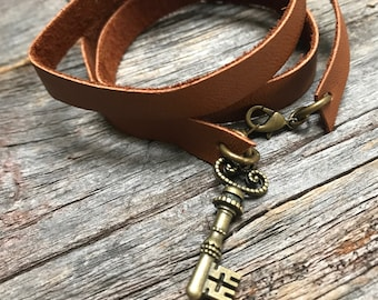 Repurposed Leather Wrap Bracelet with Key Charm