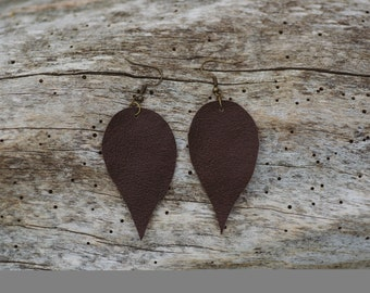 Repurposed Leather Leaf Drop Earrings