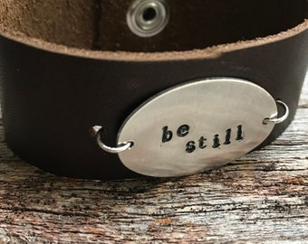 Repurposed Brown Leather Stamped Bracelet with Snap