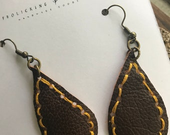 Repurposed Leather Hand Stitched Mustard Drop Earrings