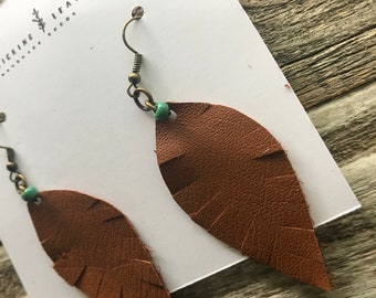 Repurposed Brown Leather Feather Earrings