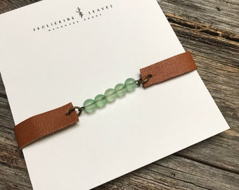Repurposed Brown Leather Bracelet with Yellow Beads