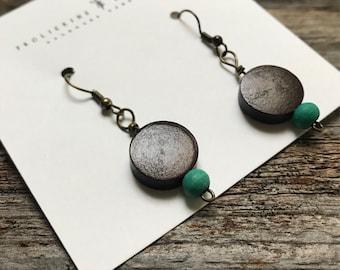 Wood Bead Circle Earrings