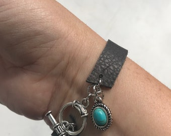 Repurposed Gray Leather Bracelet with Turquoise Charm