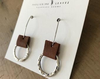 Repurposed Brown Leather Silver Hoop Earrings