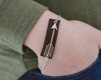 Arrow and Repurposed Leather Bracelet 8""