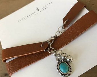 Repurposed Leather Wrap Bracelet with Turquoise Charm