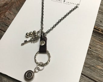 Repurposed Leather and Chain Necklace with Charms