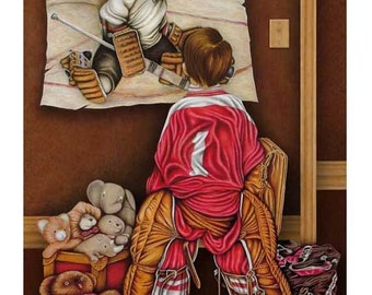 Number One, Young Hockey Goalie Signed Sports Fine Art Print