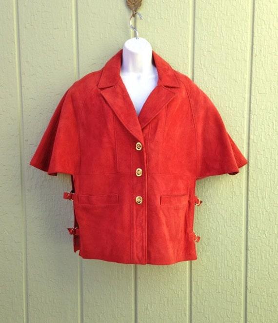 Red Suede Cape, 1960s - 1970s Boho Mod Cape Jacket