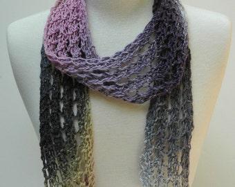 Cotton Scarf- Hand Knit / Gray/Lavender/ Mauve/Beige