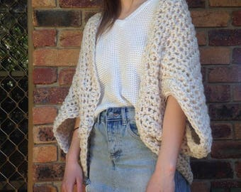 Boho Hand knitted womens fashion top with sleeves