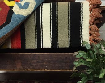 Vintage Striped Mexican Blanket Rug