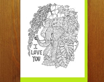 """Floral and Fauna - Elephant """"I Love You"""" Monstera Coloring Book Greeting Card"""