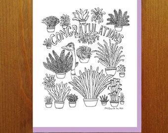 """Floral and Fauna - Ostrich """"Congratulations"""" Fern Coloring Book Greeting Card"""