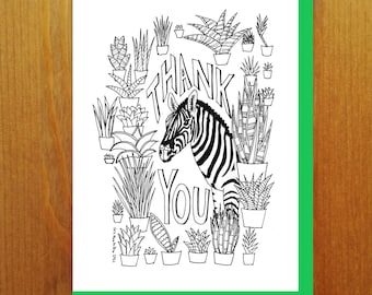 """Floral and Fauna - Zebra """"Thank You"""" Snake Plant Sansevieria Coloring Book Greeting Card"""
