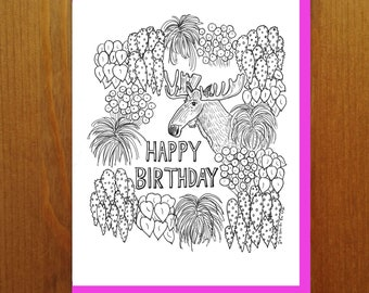 """Floral and Fauna - Moose """"Happy Birthday"""" Exciting Houseplants Coloring Book Greeting Card"""