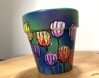 Tulip Field Hand-Painted Terra Cotta Planter - 4 inches