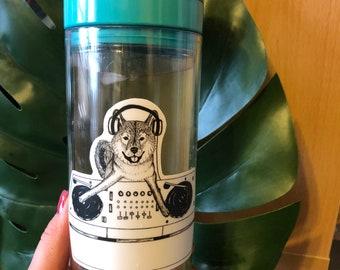 Shiba Inu Dog DJ-ing Vinyl Laptop-Water Bottle Sticker