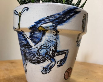 Hippogriff/Quidditch HP Fan Art Hand-Painted Terra Cotta Planter - 4 inches