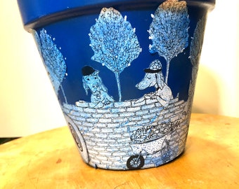Blue Construction Dogs Hand-Painted Terra Cotta Planter - 8 inches