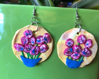 Floral Bouquet Polymer Clay Earrings