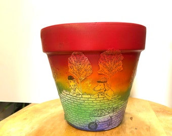 Rainbow Construction Dogs Hand-Painted Terra Cotta Planter - 8 inches