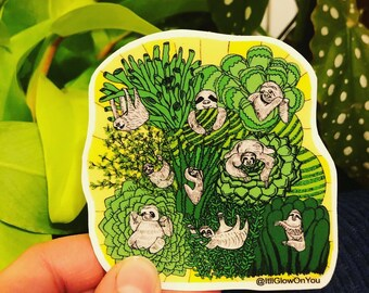 Sloths and Succulents Vinyl Laptop-Water Bottle Sticker