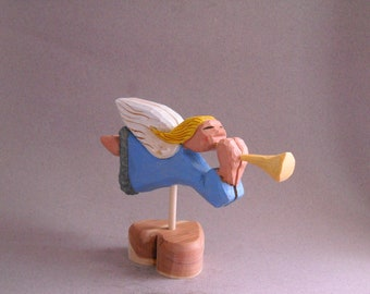 Miniture weather vane wood carving with angel