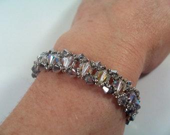 Bicone Crystal Bracelet Pattern, Beading Tutorial in PDF