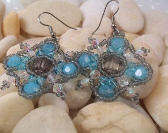 Crystal Snowflake Earrings, Beading Tutorial in PDF