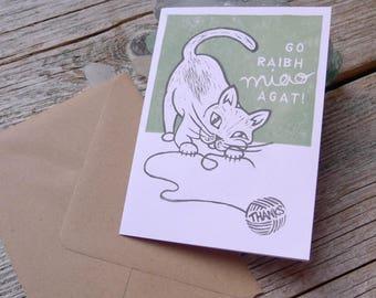 Irish Thank You Lino Print Cat Card