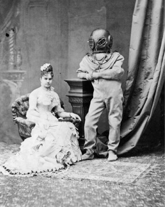 Victorian Lady Deep Sea Diver Weird Vintage Photography Etsy