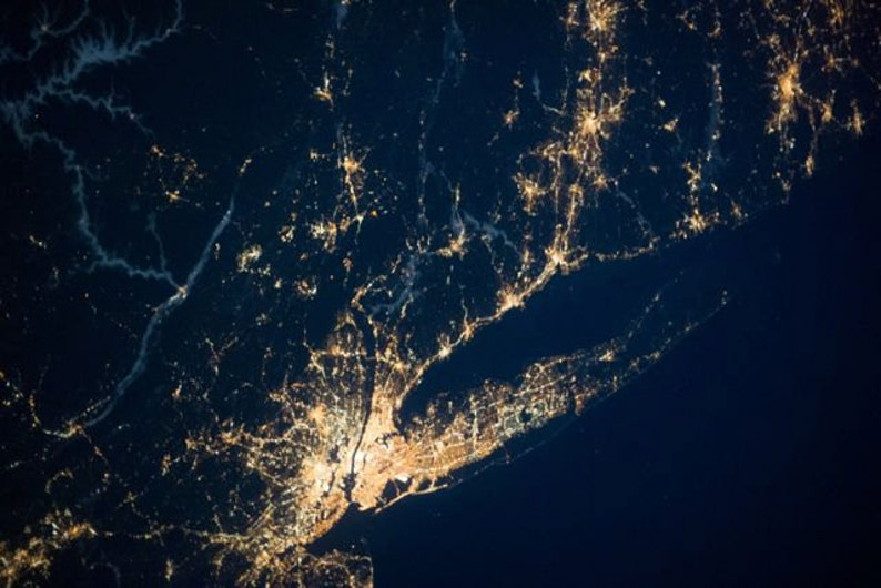 New York City Night Lights Long Island From Space Nighttime Etsy