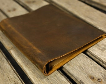 Personalized Simple A5 leather ring binder notebook cover / distressed leather refillable refill journal diary - NBA505S
