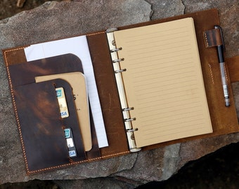 Personalized A5 leather binder notebook / A5 leather organizer Planner / travel refillable notebook - NBA505C