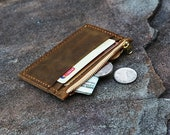 PERSONALIZED Vintage distressed leather card wallet , Minimalist Women Mens Wallet, leather front pocket wallet change coin wallet CW005SZ