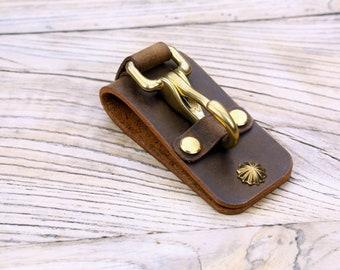 25/% off  Leather belt keeper brass key clip holder  Key Fob keychain