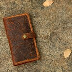 Women embossing leather iPhone 11 pro wallet case iPhone 8 plus mobile wallet / tooled leather iPhone X XS Max wallet case cover - IP20MW-B