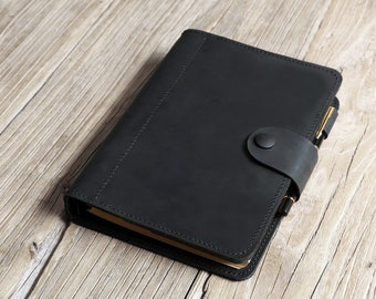 All black leather refillable planner , leather A5 6 ring binder , leather daily portfolio NBA519TB