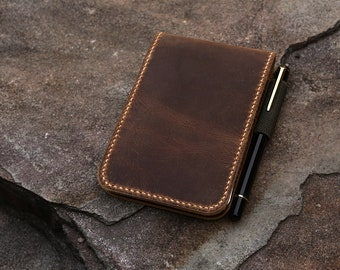"""Personalized real genuine leather notepad cover for rite in the rain top-spiral notebook 3"""" x 5"""" 4"""" x 6"""" N05RNTS"""