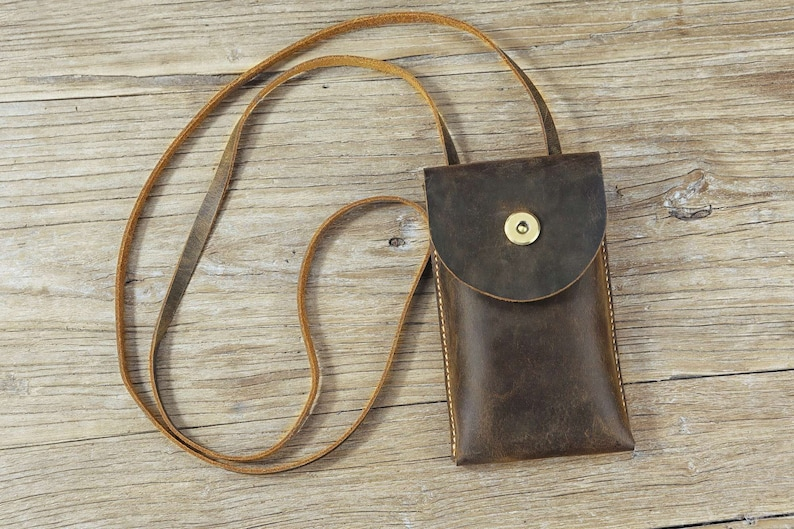 cell phone pouch mini crossbody bag for men women distressed leather phone sling bag SPB05S Vintage retro leather small sling bag